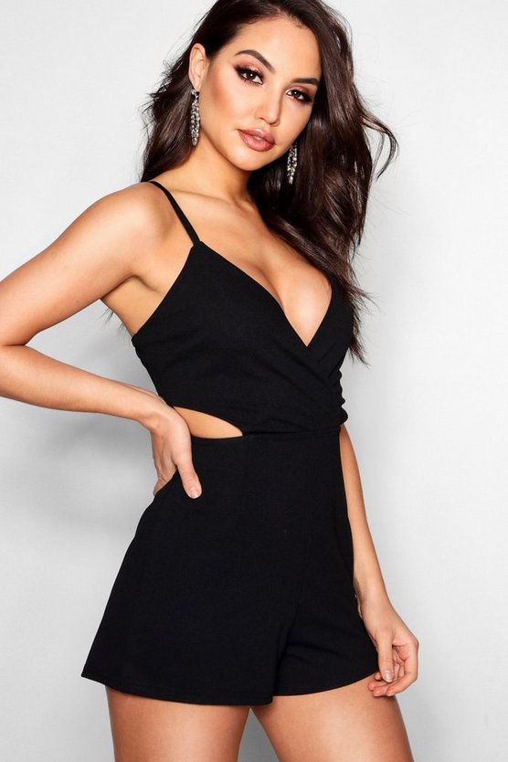 Womens Black Cut Side Wrap Detail Playsuit