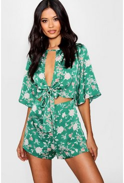 Womens Green Floral Tie Front Playsuit