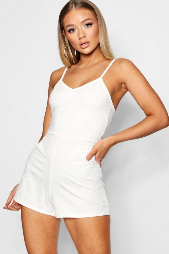 Womens Ivory Ruched Front Playsuit In Rib