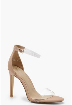 Womens Nude Clear Band 2 Part Heels
