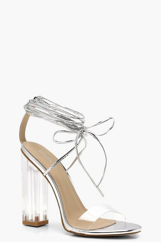 Clear Heel Wrap Strap Sandals