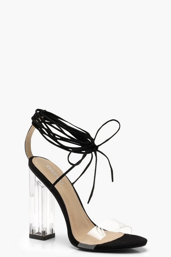 Black Clear Heel Wrap Strap Sandals