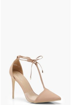 Womens Nude Pointed T Bar Heels