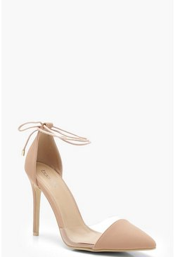 Womens Nude Pointed Toe Clear Wrap Strap Heels