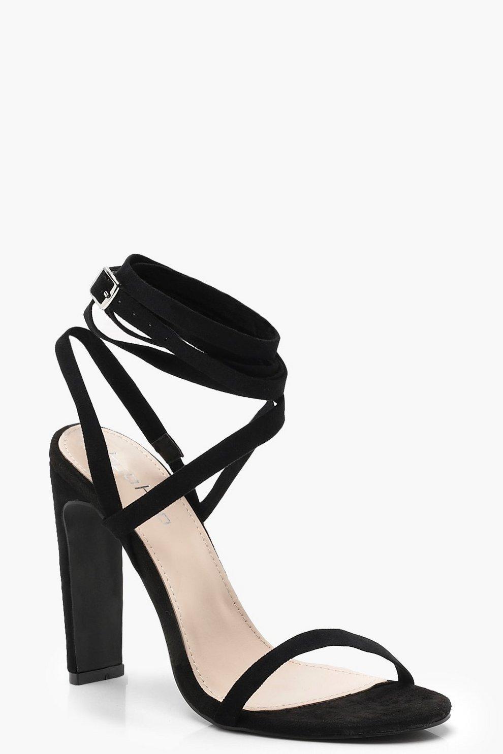 38bc08f0998b Skinny Block Wrap Strap Heels
