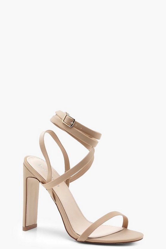 Womens Nude Skinny Block Heel Wrap Strap Sandals