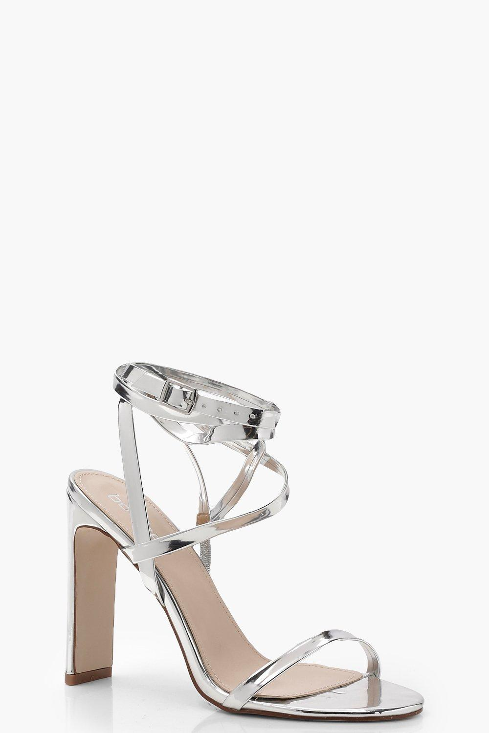 68a409abd467 Skinny Block Wrap Strap Heels. Hover to zoom