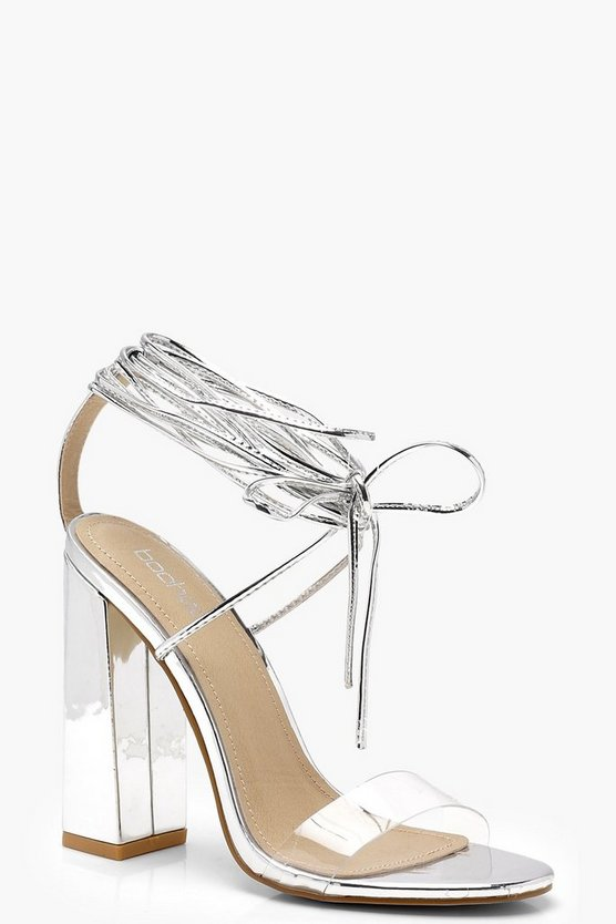 Clear Strap Wrap Ankle Block Heels