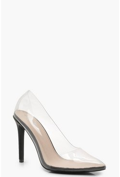 Womens Black Clear Pointed Toe Court Shoes