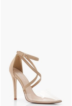 Womens Nude Cross Strap Pointed Clear Heels