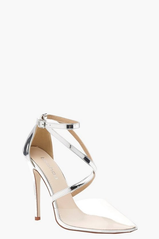 Womens Strap Pointed Clear Heels