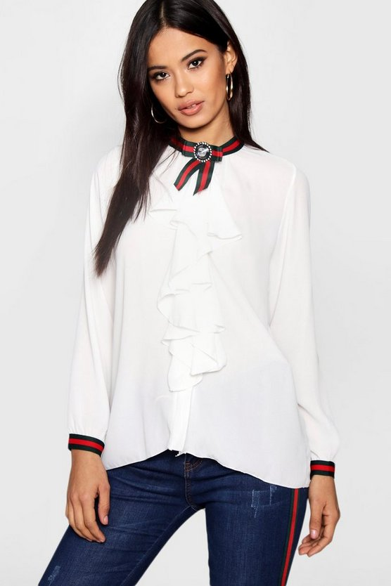 Sports Stripe Brooch Ruffle Blouse