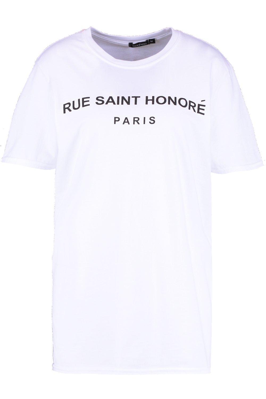 T Rue Saint Shirt Slogan white Honore qttHzTr