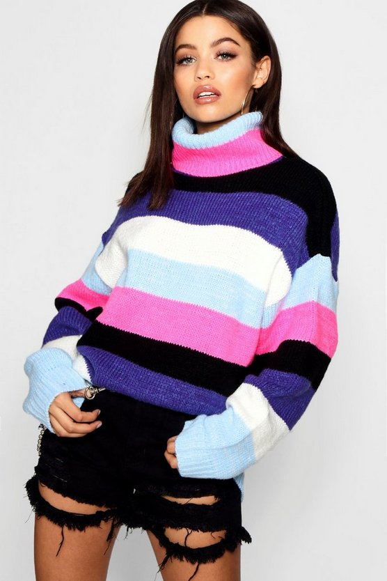 Womens Purple Oversized Roll Neck Coloured Stripe Jumper