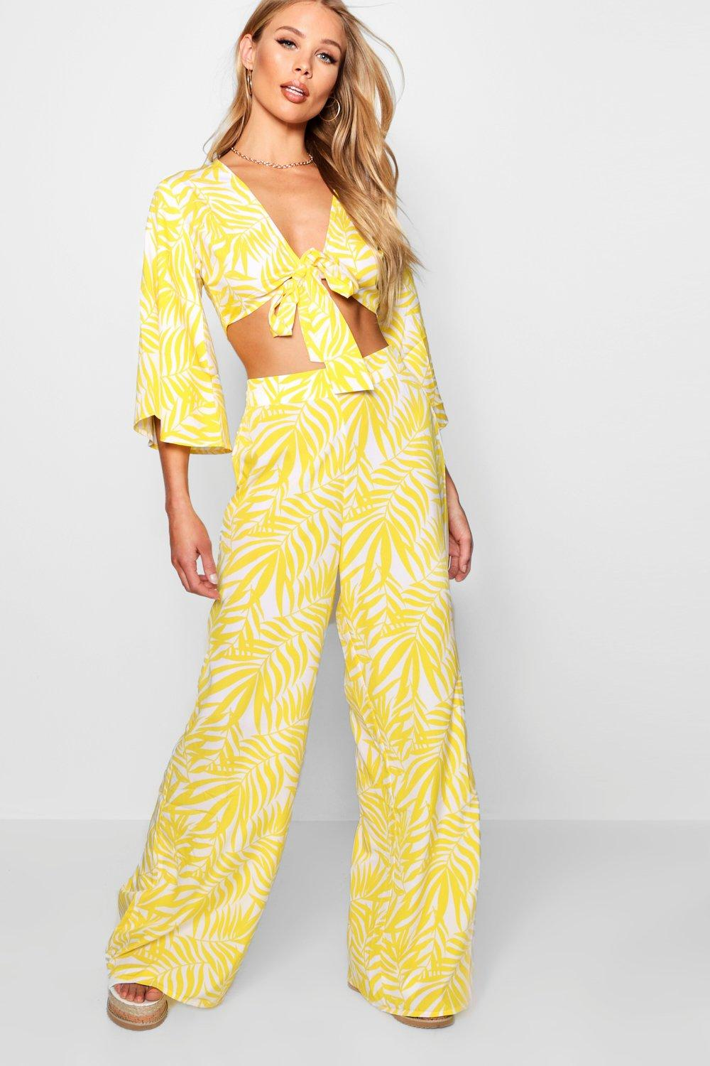 Leg Nala Top Tie Wide and ord Frill Front Co yellow YYFxU