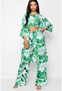 Womens Green Palm Print 3 Piece Co-ord