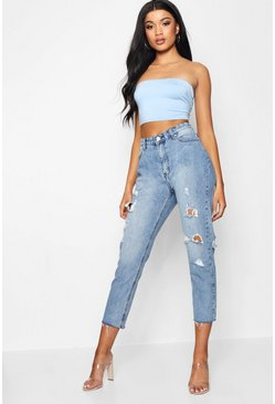 Womens Light blue High Rise Raw Hem Mom Jeans