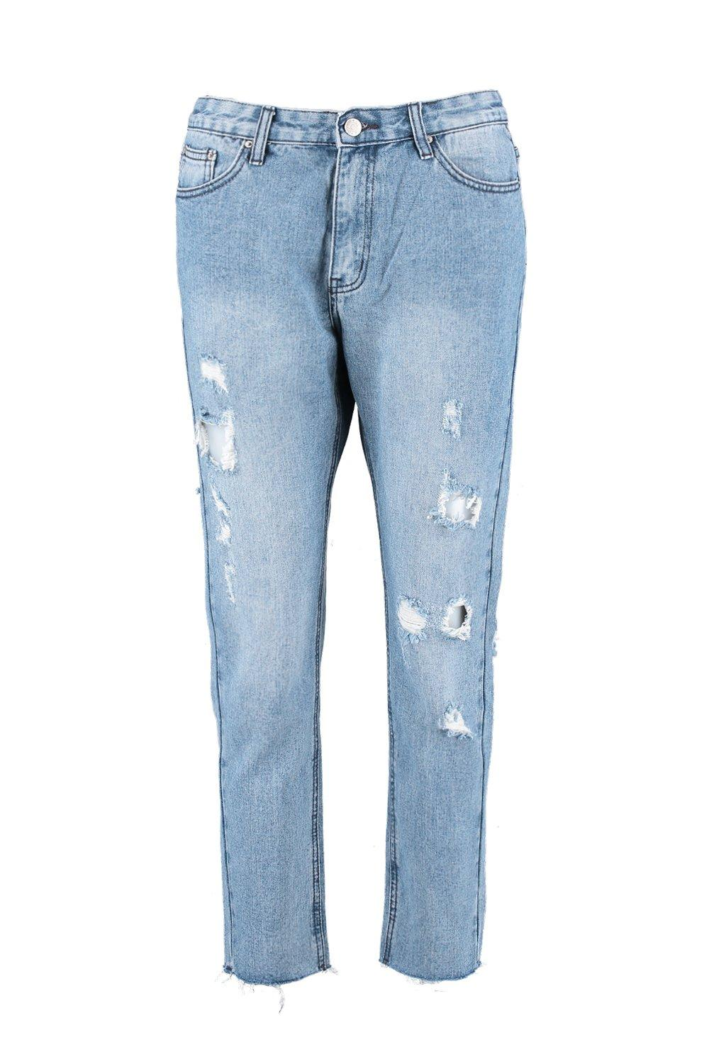 Raw Jeans Hem light High blue Mom Rise pfqwBPx5aT