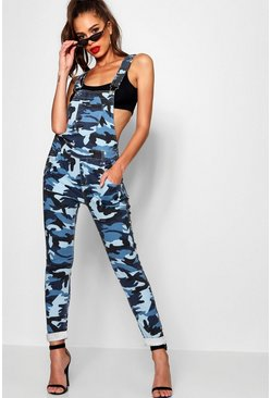 Womens Blue Washed Camo Denim Dungaree