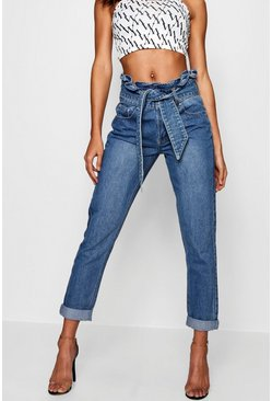 Ruffle High Rise Belt Detail Boyfriend Jean, Mid blue