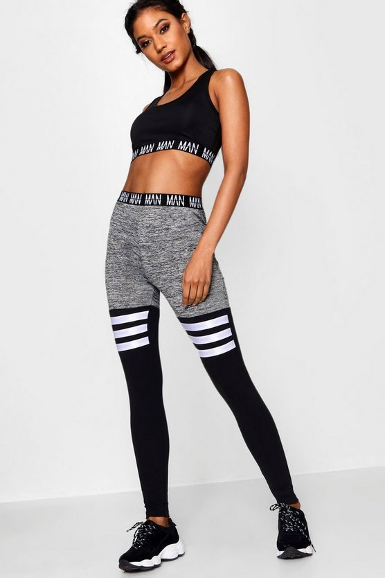 Womens Grey Fit 'MAN' Stripe Detail Panel Gym Legging