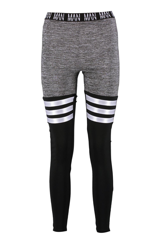 Legging Gym Fit Stripe Panel Detail grey 'MAN' 6qgXnwxgzR