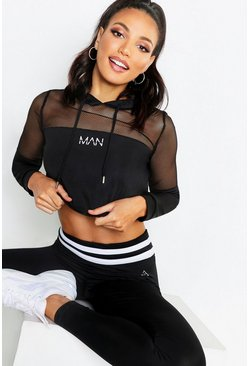 Womens Black Fit 'Man' Mesh Panel Hoodie
