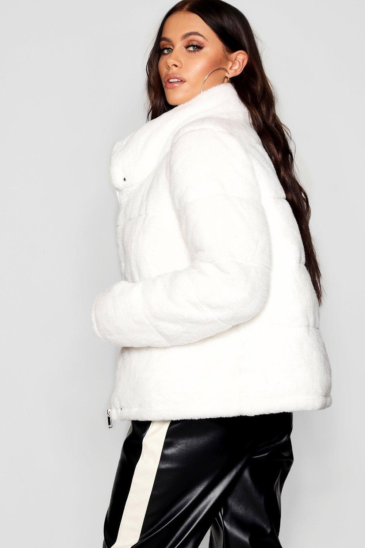 Jacket Fur Padded Faux Teddy cream 18AW4Wg