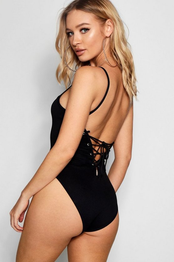 Jumbo Rib Square Neck Lace Up Bodysuit