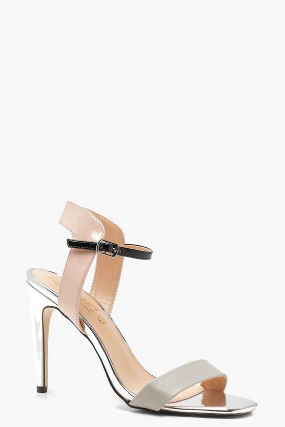 Patent Colour Block 2 Part Heels