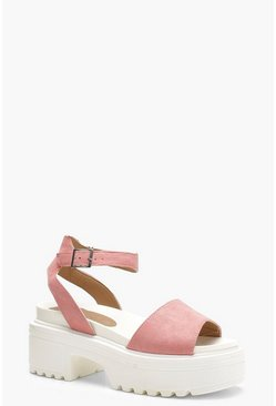 Chunky Cleated Peeptoe Sandals, Pink, ЖЕНСКОЕ