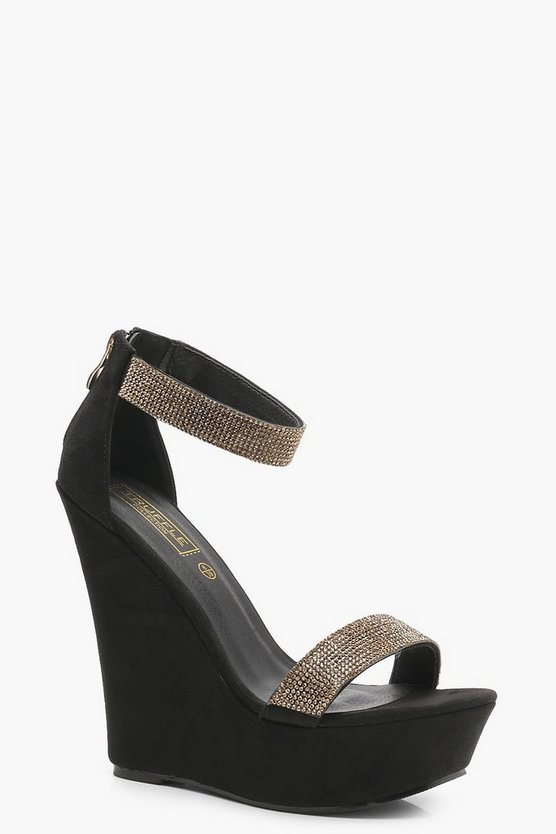 Diamante Two Strap Wedges