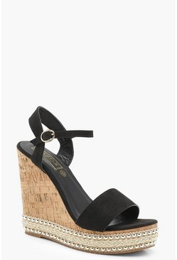 Stud and Plait Cork Wedges, Black, ЖЕНСКОЕ