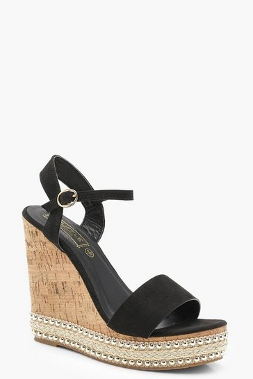 Womens Black Stud and Plait Cork Wedges