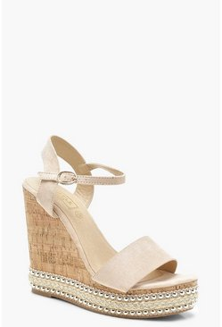 Womens Nude Stud and Plait Cork Wedges