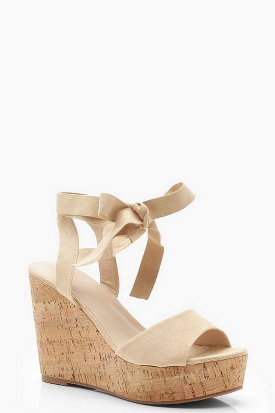 Womens Nude Peeptoe Wrap Strap Cork Wedges