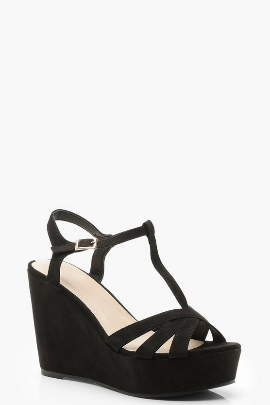 Black T Bar Cross Strap Wedges