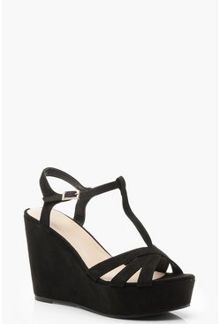 Womens Black T Bar Cross Strap Wedges