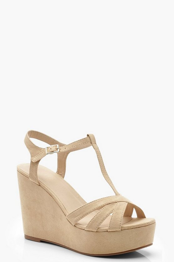 Womens Nude T Bar Cross Strap Wedges