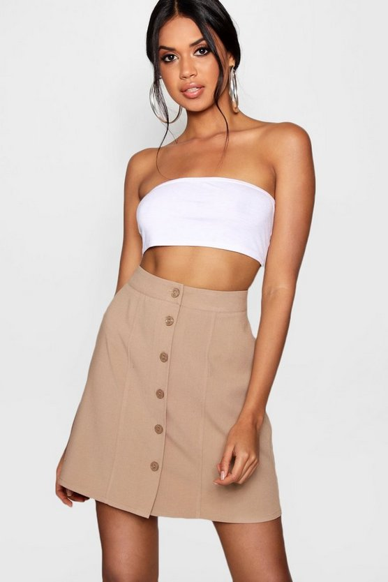 Woven Mock Horn Button & Seam Mini Skater Skirt