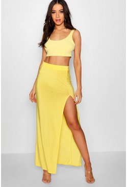 Yellow Slinky Side Split Maxi Skirt