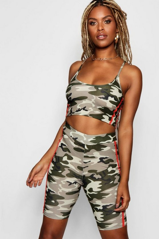 Womens Camo Crop Top and Cycle Short Set