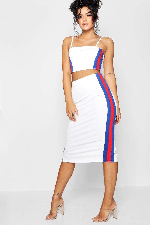 top detalle Bodycon falda midi conjunto y blanco XaaxSwqrd