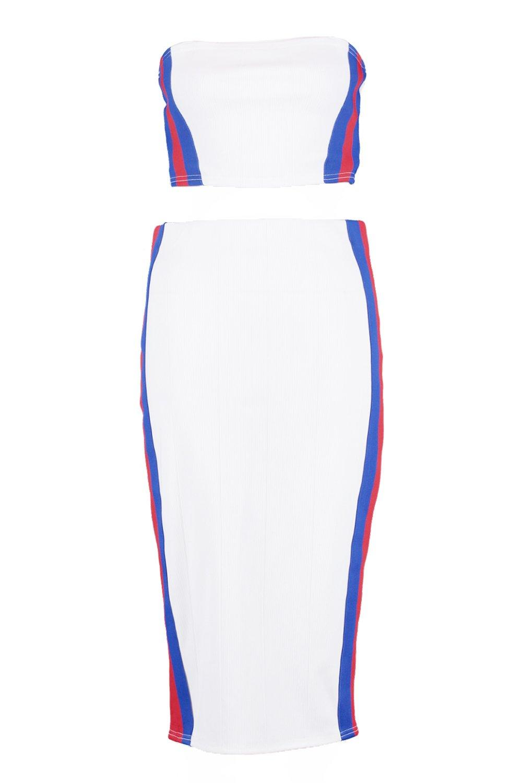 conjunto falda blanco Bodycon top y midi detalle OqxwU5