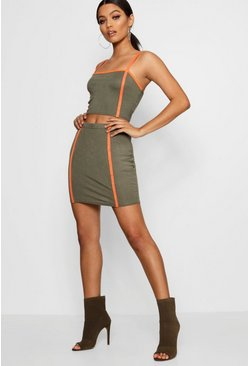 Womens Khaki Seam Detail Crop Top & Skirt Co-ord