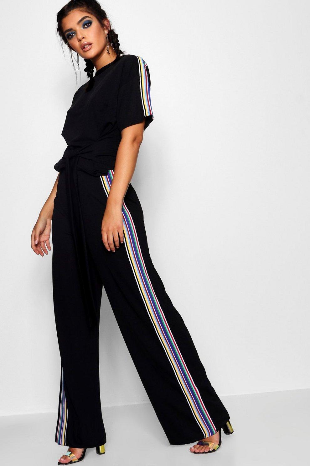 c58ece5d2964 Tie T-Shirt and Rainbow Stripe Co-ord   Boohoo