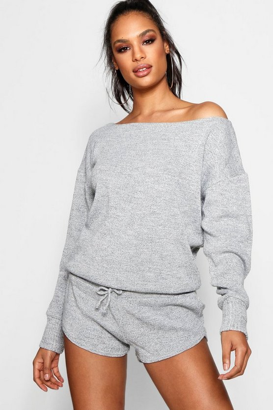 Jumper And Shorts Heavy Knitted Set