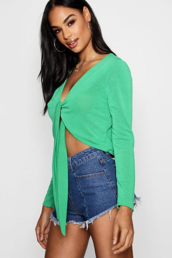 Tie Front Knitted Crop