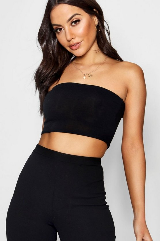 Womens Black Knitted Bandeau Top