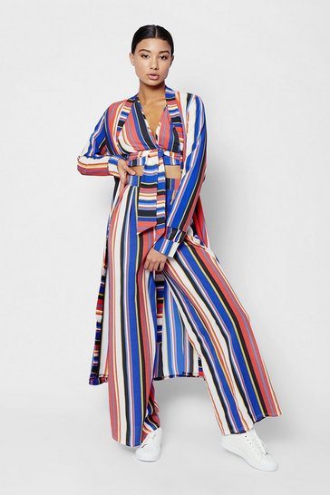 Womens Red Stripe Maxi Duster Coat